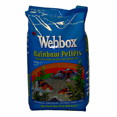 10kg Webbox Rainbow Pellets Floating KOI CARP & All Pond Fish Food