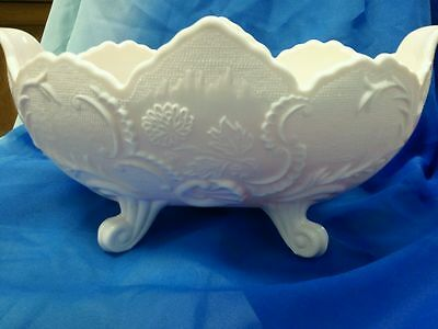 """Shell Pink Milk Glass , Lombardi 4"""" Footed Bowl"""