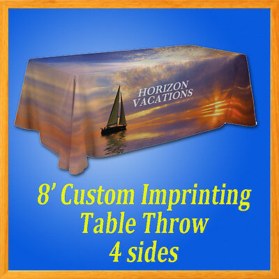 8' Custom Full Color Trade Show Table Cover Throw Dye Sublimation Imprinted