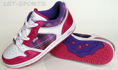PASTRY GLAM PIE BERRY PLAID GIRLS TRAINERS, SHOES UK 3 to 4