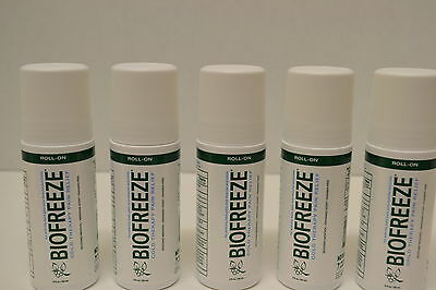 5-PACK **FIVE ROLL ON** BIOFREEZE PAIN RELIEVING GEL (3 OZ.ROLL ON)FRESH!