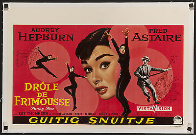 "FUNNY FACE 1957 Beautiful original 14""x22"" Audrey Hepburn poster linen-backed"