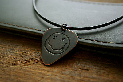 Hand Made Etched Copper Guitar Pick Necklace with Nirvana Smiley Face - Donation