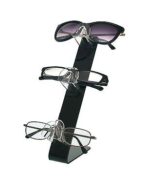 3 Tier Acrylic SUNGLASSES EYEGLASSES display STAND with Black Back Glasses Nose