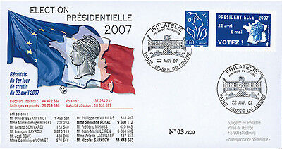 "EP07-1a FDC ""France 2007 Presidential Election - 1st ROUND"" Paris Louvre Museum"