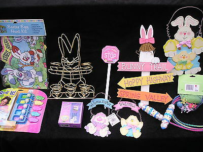 Asst lot of 10 Easter Egg Hunt Rare Items Ribbons Prizes Bunny Rabbit Signs NEW