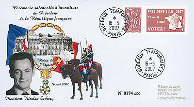 "EP07-4b FDC ""France 2007 Presidential Election - Inauguration Day SARKOZY"" Paris"