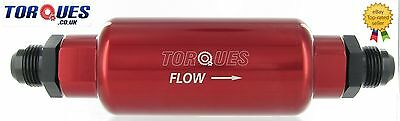 AN -10 (AN10 JIC -10) Red Anodised Billet Fuel Filter 30 Micron