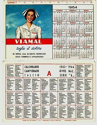 #1964 CALENDARIETTO - PUB. VIAMAL (denti) - CALENDARIO CALCIO SERIE A- 1963-64