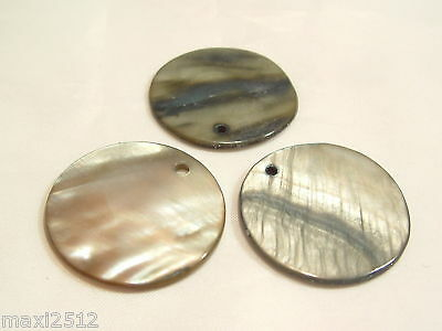 5 x 25mm Dyed Shell Flat Disc Beads : BNSP160 Mink