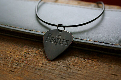 Hand Made Etched Copper Guitar Pick Necklace with The Beatles