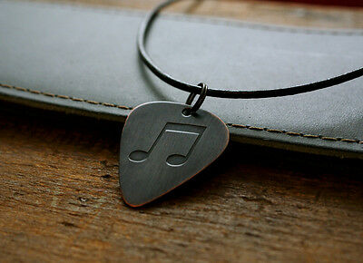 Hand Made Etched Copper Guitar Pick Necklace with Beamed Eighth Musical Notes
