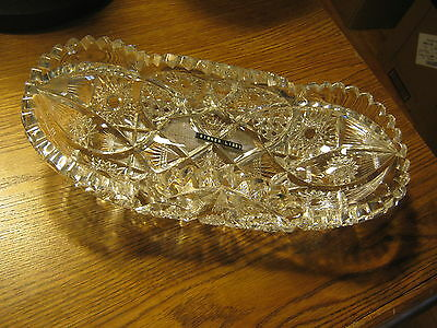 Antique 1900 American Cut Crystal Glass Server Pairpoints Hobstars Signed Libbey