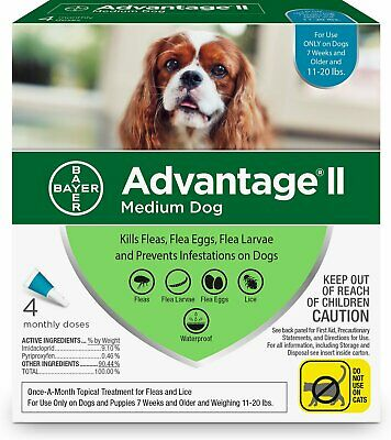 Advantage II for Dogs 11-20 lbs Teal 4pk-4 Month Supply Genuine USA EPA Approved