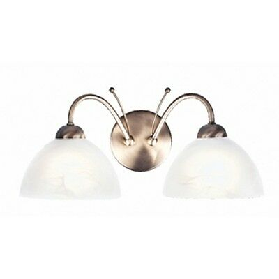 A Pair Of Searchlight Milanese Range Twin Wall Lights In Antique Brass 1132-2Ab