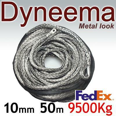 10mm x 50m Grey DYNEEMA SK-75 SYNTHETIC WINCH ROPE CABLE UHMWPE 9500Kg. 4x4 ATV