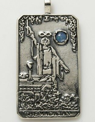 Tarot Card Jewelry Magician Sterling Silver Ingot Pendant Custom Stone #LM
