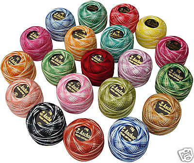 20 Variegated Anchor Crochet Cotton Thread Balls * 20 Assorted Colours