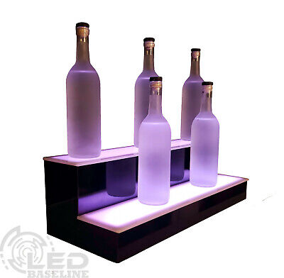 "28"" LED BAR SHELF, Two Step, Liquor Bottle Shelves, Bottle Display Shelving rack"
