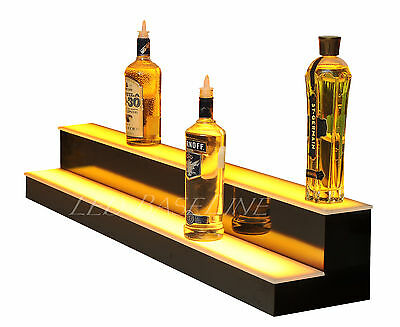 "74"" LED BAR SHELVES, Two Steps, Lighted Liquor Bottle Shelf,  Display Shelving"