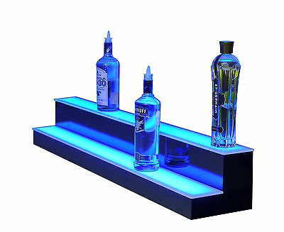 "96"" LED BAR SHELVES, Two Steps, Lighted Liquor Bottle Shelf,  Display Shelving"