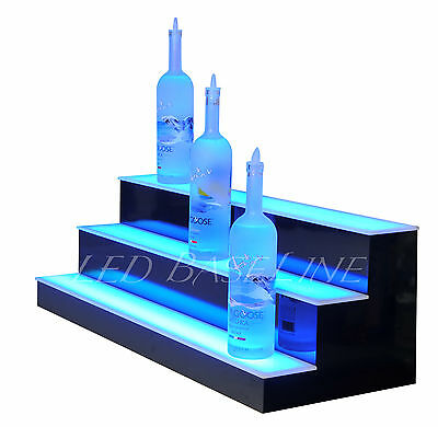 "28"" LED LIGHTED BAR SHELF, Three Step Liquor Bottle Glorifier, Back Bar Shelving"
