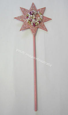 Pink Fairy Star Wand With Beads, Glitter & Treasures Children Dressup Costume