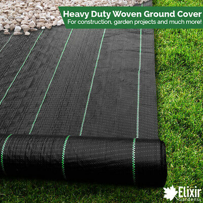 2m x 50m | Elixir Gardens® Woven Ground Cover / Landscape Fabric / Weed Membrane
