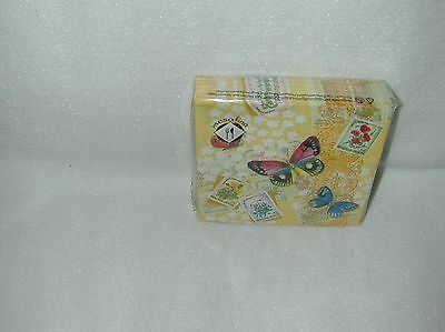 Mesafina Yellow Butterflies/stamps 20 Beverage Paper Napkins-New-Sealed