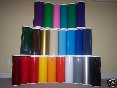 """12"""" Adhesive Vinyl (Craft hobby/sign maker/cutter), 10 Rolls@ 5' Ea. (26 Colors)"""