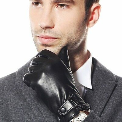 Top quality Men's Italian Nappa soft leather winter warm dress gloves