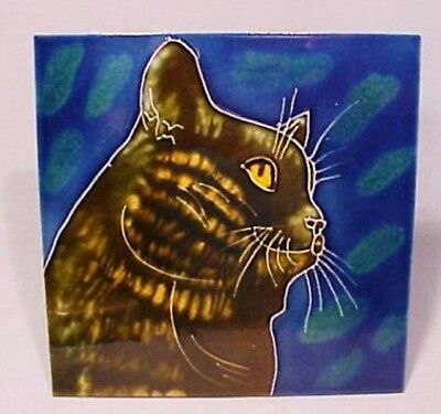 Black Cat Ceramic Tile Plaque Table Display w/ Built-In Stand - Beautiful!
