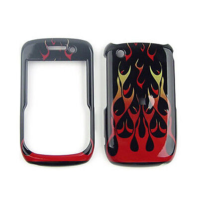 For BlackBerry Curve 8520 8530 9300 Hard Cover Red Flames Protector Phone Case