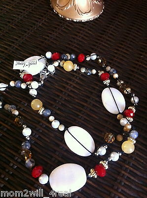 NWT PARK LANE ROUGE NECKLACE BEAUTIFUL! $86 MOTHER OF PEARL, ONYX & YELLOW JADE