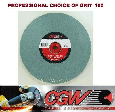 """Lot of Two, 8""""x1""""x1-1/4"""" Green Silicon Carbide Bench Grinding Wheel 80grit"""