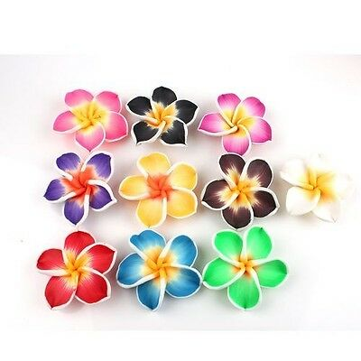 15x Mixed Fimo Polymer Clay Plumeria Flowers Beads 40MM Pick Color Free Ship