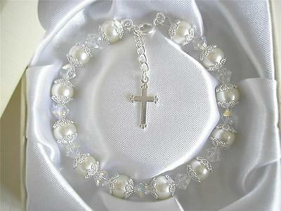 Holy Communion Sterling Silver Cross Bracelet - Crafted with AB Crystals