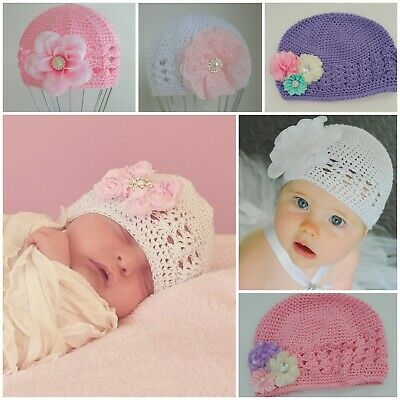 Baby Beanie Hat Cap Toddler 3-12 Month Crochet Kufi Flower Bow Vintage Winter