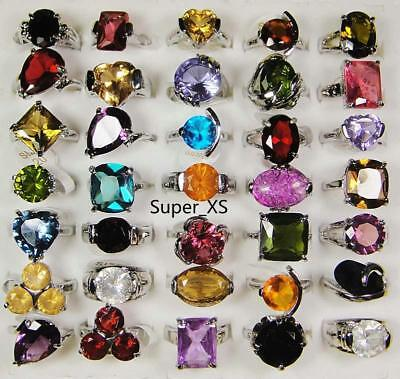 15pcs Crystal Zircon silver plated rings wholesale jewelry lots free shipping