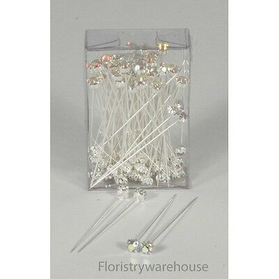 4mm professional faux diamond pins Iridescent (x72)