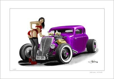 34' 35'  Ford Coupe  Hotrod   Pin-Up Girl       Limited Edition