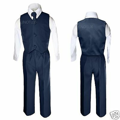 NEW INFANT, TODDLER & BOY  WEDDING FORMAL PARTY VEST SUIT NAVY Blue S-XL 2T-14