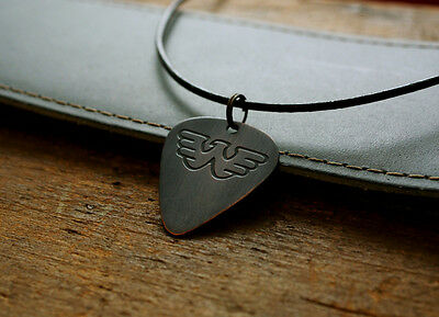 Hand Made Etched Copper Waylon Jennings Guitar Pick with Necklace
