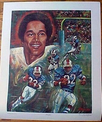 """O J Simpson """"the Juice""""  Lithograph By Angelo Marino"""