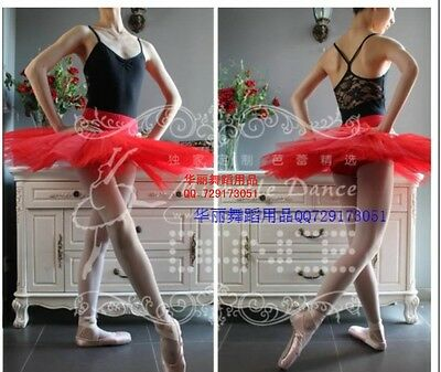 Girls Professional Hard Organdy Ballet Dance Tutus Skirt Practice 5 layers Red