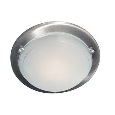 Metal + Glass Flush Light Fitting With Satin Silver Finish Surround 702Ss