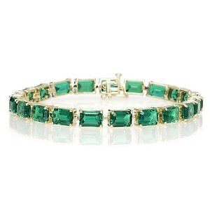 20.00Cttw 10Kt Yellow Gold Emerald Tennis Bracelet + Gift!  See Store