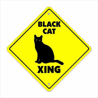 "Black Cat Crossing Sign Zone Xing 12"" Tall kitty cats kittens witch halloween"