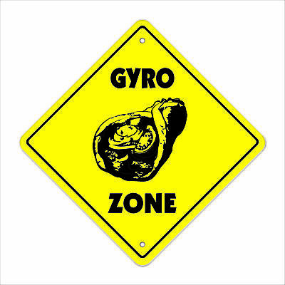 "Gyro Crossing Sign Zone Xing 12"" Tall greek food olives pita tzatziki souvlaki"