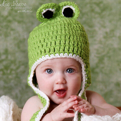 c3caff3ff36 MELONDIPITY GIRL PINK Green Crochet Baby Beanie Hat Knit Animal ...